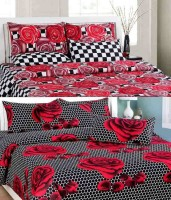 Fresh From Loom Cotton Floral Single Bedsheet 2 Single Bed Sheet With 2 Pillow Covers, Multicolor