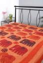 Rajrang Floral Elephant Patchwork With Kantha Work Flat Double Bedsheet - BDSDUZH6FH8MER6J