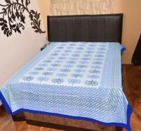 AS42 Cotton Silk Blend Abstract Single Bedsheet 1 Bedsheet, Blue