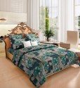Home Candy Attractive Green Cotton Collection Flat Double Bedsheet