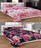 Supreme Home Collective Polycotton 3D Printed Double Bedsheet 3D Poly Cotton Set Of 2 Double Bedsheet With 4 Pillow Covers, Multi-Color