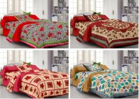 Story @ Home Cotton Abstract Single Bedsheet Set Of 4 Single Bedsheet With 4 Pillow Cover, Multicolor