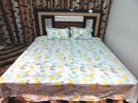 Peponi Cotton Printed King Sized Double Bedsheet Peponi 140 TC 100% Cotton Multi Color Printed Double Bedsheet With 2 Pillow Cover, Multicolor