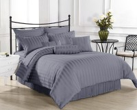 Ahmedabad Cotton Cotton, Satin Striped King Sized Double Bedsheet 1 Bed Sheet, 2 Pillow Covers, Grey