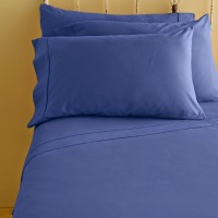 Amrich Cotton Solid King Bedsheet 1 Fitted Sheet, Egyptian Blue