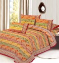 Aapno Rajasthan Orange Red Paisley Print Pure Cotton Set Mugal Print, Gold Print Flat Double Bedsheet