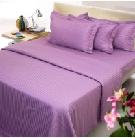 Amita Home Furnishing Satin Striped Queen Sized Double Bedsheet 1 Elastic Fitted Double Bed Sheet 4 To 6 Inch Matres, 2 Pillow Cover, Purple