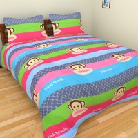 Ruhi Home Furnishing Polycotton Cartoon Double Bedsheet 1 Double Bedsheet, 2 Pillow Covers, Blue, Pink