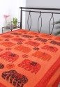 Rajrang Floral Elephant Patchwork With Kantha Work Flat Double Bedsheet