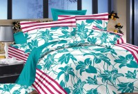 India Furnish Cotton Floral King Sized Double Bedsheet Bedsheet : 1 Pc Pillow Covers: 2 Pcs, Light Blue