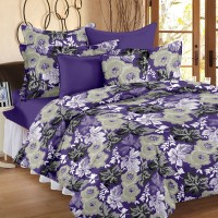 Ahmedabad Cotton Cotton Floral Double Bedsheet (1 Double Bedsheet, 2 Pillow Covers, Purple)