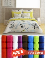 Story @ Home Cotton Floral Double Bedsheet 1 Double Bedsheet, 2 Pillow Covers, Complimentry Free Assorted Color Towel, White