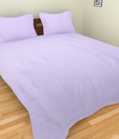 Amita Home Furnishing Satin Striped Queen Sized Double Bedsheet 1 Double Bed Sheet, 2 Pillow Cover, Purple
