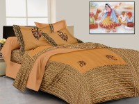 Lali Prints Cotton Embroidered King Sized Double Bedsheet 1 Bedsheet, 2 Pillow Covers, Brown