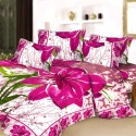 Aapno Rajasthan Pure Cotton Pink Floral Print Double - Set Reactive Procean Flat Double Bedsheet