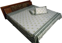 Jaipur Art And Craft Cotton Printed Double King Bedsheet 1 Bedsheet, 2 Pillow Covers, Multicolor