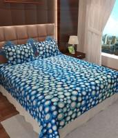 Wonder Collection Cotton Geometric Queen Bedsheet Bedsheet, 2 Pillow Covers, Blue