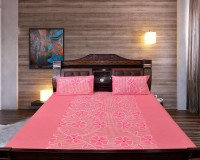 Optimistichomefurnishing Cotton Floral Double Bedsheet (1 Bedsheet, 2 Pillows)