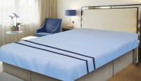 Milano Home Cotton Embroidered Queen Sized Double Bedsheet 1 Bedsheet, Light Blue