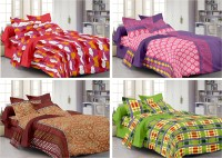 Story @ Home Cotton Printed Double Bedsheet Set Of 4 Double Bedsheet With 8 Pillow Cover, Multicolour