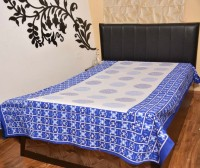 AS42 Cotton Silk Blend Abstract Single Bedsheet 1 Bedsheet, Blue, White