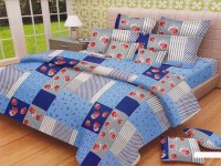 Lali Prints Cotton Printed King Sized Double Bedsheet 1 Double Super King Size Bedsheet And 2 Pillow Covers, Blue