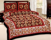Fab Rajasthan Unique Arts Cotton Floral Queen Sized Double Bedsheet 1 Bedsheet With 2 Pollow Covers, Multicolor