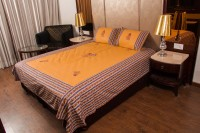 Kismat Collection Cotton Embroidered Double King Bedsheet 1 Bedsheet, 2 Pillow Covers, Multicolor
