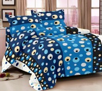 Luxe Cotton Abstract King Sized Double Bedsheet Bedsheet, 2 Pillow Covers, Blue