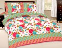 Bazarvilla Prosean Multicolor Floral Print 100% Cotton Bed Spread Flat Double Bedsheet