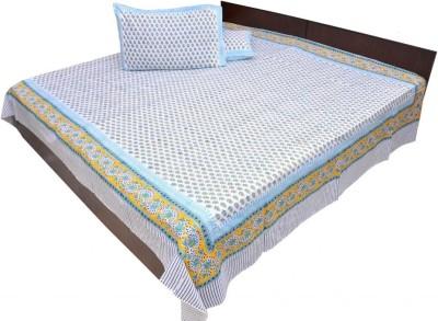 Buy Jaipur Raga Block Print Cotton Cotton Flat King Bedsheet: Bedsheet
