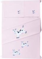Baby Rap Cotton Embroidered Standard Crib Bedsheet (2 Bed Sheets, 2 Pillow Covers, Pink)