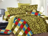 Dreamscape Cotton Geometric Double Bedsheet (Bedsheet, Two Pillow Covers)