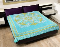 The Home Story And Portico Cotton Abstract Double Bedsheet 1 Bedsheet, Blue, Green, White, Aqua Blue