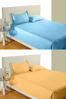 Idrape Cotton Striped Double Bedsheet 2 Double Bed Sheet, 4 Pillow Covers (Combo Offer ), Light Blue, Yellow