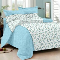 Always Plus Cotton Floral Double Bedsheet 1 Bedsheet, 2 Pillow Cover, Sky Blue