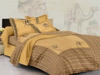 Lali Prints Cotton Embroidered King Sized Double Bedsheet 1 Bedsheet, 2 Pillow Covers, Light Brown