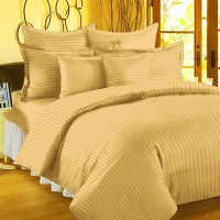 BlueeyE Satin Striped King Sized Double Bedsheet 1 Bedsheet 2 Pillow Cover, Gold