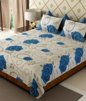 Wonder Collection Cotton Floral Queen Sized Double Bedsheet Bedsheet, 2 Pillow Covers, Blue