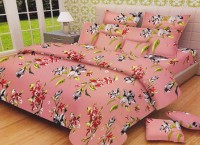 Lali Prints Cotton Floral King Sized Double Bedsheet 1 Double Super King Size Bedsheet, 2 Pillow Covers, Pink