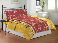Bombay Dyeing Cotton Floral Double Bedsheet (1 Bed Sheet Plus 2 Pillow Covers)