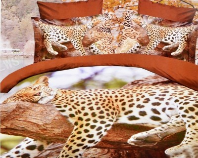 Valtellina Valtellina Charming Sleeping Leopard 4D Print Double Bed Sheet Printed Flat Double Bedsheet