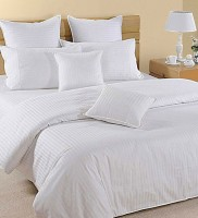 Adelina Satin Striped King Sized Double Bedsheet 1 Bed Sheet, 2 Pillow Cover, White