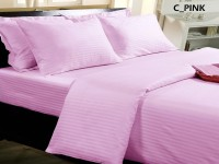 BlueeyE Satin Striped King Sized Double Bedsheet 1 Bedsheet With 2 Pillow Cover, Pink