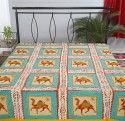 Rajrang Floral Embroidered Camel With Kantha Work Flat Double Bedsheet