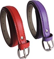 Elligator Women Casual, Formal, Party Purple, Red Artificial Leather Belt Purple-06
