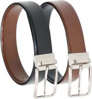 Vermello Men Formal Brown, Black Genuine Leather Reversible Belt Black, Brown - BELE5KYSVTHVPMFG