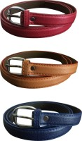 Verceys Girls, Women Casual Tan, Red, Blue Artificial Leather Belt Tan, Red, Blue
