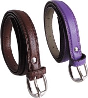 Elligator Women Casual, Formal, Party Purple, Brown Artificial Leather Belt Purple-04