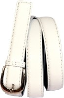 Swan Collection Girls, Women Casual, Formal White Artificial Leather Belt 09W
